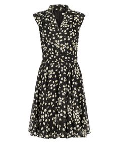 Daisy Print Shawl Collar Dress, Black Daisy Print