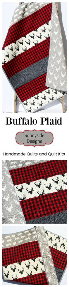 Buffalo Plaid Quilt, Handmade Baby Quilt for Sale, Toddler Quilt, Baby Quilt Kits, Toddler Quilt Kit, Lumberjack plaid, Woodland Nursery, Buffalo Check Blanket, Beginner Quilt Kit, Sewing Project DIY Craft by Sunnyside Designs