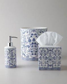 -4B2W Kassatex  Orsay Vanity Tray Orsay Tissue Box Cover Orsay Wastebasket