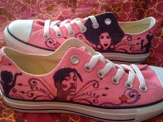 ***This listing is for the design and artwork ONLY. SHOES ARE NOT INCLUDED*** Send me a pair of your shoes (still in good condition) to the address Pink Converse, Converse Shoes, Sneakers Mode, Sneakers Fashion, Custom Made Shoes, Painted Clothes, Black Pride, Types Of Shoes, Hair