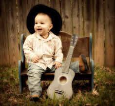 baby cowboy  with his guitar---I love this, so CUTE!!!