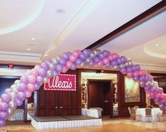Bat Mitzvah Balloon Archway & Name in Lights from Ideal Party Decorators - www.idealpartydecorators.com