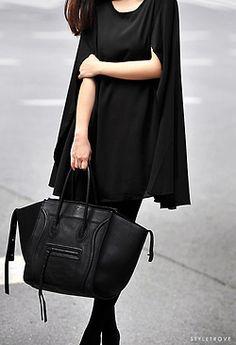black bag, black cape