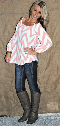 COLD SHOULDER CHEVRON TOP IN CORAL. I need this outfit! ... I know this is about the clothes but I love her hair!