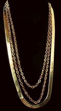 Monet Gold Chain Necklaces All Signed 3 Layered Styles Gold Metal Vintage Luxury Jewelry, Gold Jewelry, Vintage Jewelry, Gold Necklace, Eye Necklace, Necklace Set, Gemstone Jewelry, Fine Jewelry, Women Jewelry