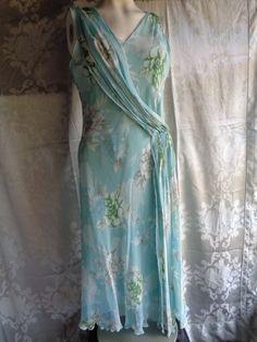 Vintage dress chiffon pale turquoise blue by vintagewayoflife