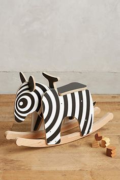 Rocking Zebra by Newmakers - Wooden Rocking Horse - Modern Rocker Toy for Toddlers | Small for Big