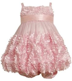 0a40c5da9 Size-6/9M, Pink, BNJ-7780R 2-Piece Flutter-Die-Cut Flower Border Mesh  Bubble Dress,R07780 Bonnie Jean Baby-Newborn