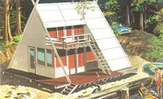 build a cabin, modern prefab cabin kits, modern prefab cabin plans, modern prefab cabins A Frame House Plans, A Frame Cabin, Modern House Plans, Modern Deck, Cabin Design, House Design, Plywood Design, Prefab Cabins, Tiny Cabins