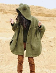 wool loose cape jacket long coat thick warm coat white coat (yuan123, Etsy)