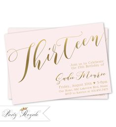 Pink And Gold 13th Birthday Invitations Teen Invitation 14th 15th Party Invites