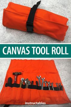 This canvas tool roll is handy because it can be customized to hold whatever tools you want and is portable. #Instructables #sewing #workshop Sewing Ideas, Sewing Projects, Trailer Storage, Tool Roll, Wrench Tool, Leftover Fabric, Dutch Oven, Diy Tools, Van Life