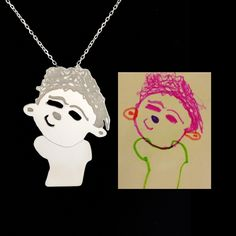 MEDIUM SIZE Personalized jewelry, custom design sterling silver necklaces from your children's drawings, perfect gift, personalized necklace by TasarimTakarim on Etsy https://www.etsy.com/uk/listing/275055366/medium-size-personalized-jewelry-custom
