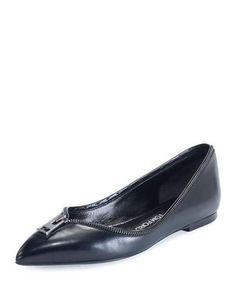 TOM FORD ZIPPER-TRIM LEATHER FLAT, BLACK. #tomford #shoes #flats