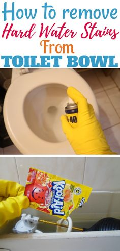 Cleaning the toilet bowl can be hard sometimes. Here are a few tips and tricks on how to remove hard water stains from your toilet bowls Bathroom Cleaning Hacks, Toilet Cleaning, House Cleaning Tips, Diy Cleaning Products, Spring Cleaning, Remove Water Stains, Hard Water Stains, Clean Toilet Bowl Stains, Clean House