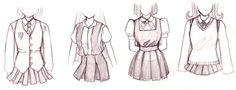 how to draw anime outfits   Aside from the common Sailor Uniform, there are other uniforms as ...