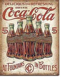 Coke - 5 Bottles Retro - Tin Sign (All New Coke Sign)