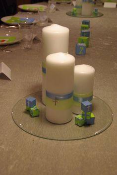 Easy Centerpieces for Christening Christening Decorations, Baptism Centerpieces, Christening Party, Simple Centerpieces, Candle Centerpieces, Pillar Candles, Party Themes, Party Ideas, Wedding Events
