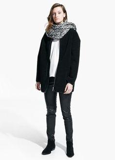 Manteau cocoon en imitation mouton   MANGO