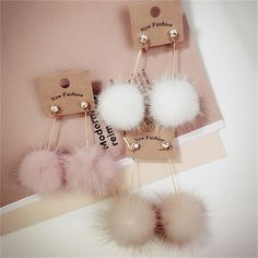 1 Pairs Rhinestone Crystal Stud Earrings Mink Hair Imitation Rabbit Hair Ball Earring Fashion Long Earrings For Women Girls