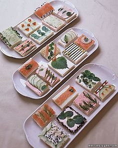 """""""Sushi Bar Tea Sandwiches"""" in our Bridal Shower Tea Party Ideas gallery Baby Shower Food Menu, Tea Party Baby Shower, Tea Party Bridal Shower, Mini Sandwiches, Finger Sandwiches, Sushi Bar, Aperitivos Finger Food, Travel Bridal Showers, Afternoon Tea Parties"""