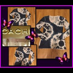 "✨CACHE TOP ✨HOST PICK✨ This is a re-posh. Size XS, fits more like a small. Perfect condition, worn once. It's a great top, I'm sad it doesn't fit me. Takes tie-dye to classy elegance! 95% poly 5% spandex, so it is machine washable and low maintenance! Dimensions:,18"" long from armpit; 16"" across bust; sleeve length 18"" from armpit. It has some stretch. Color seems dark in picture but this is white with a pretty dark sea blue fading into a denim blue. Fabulous top. 💞HP💞 best in tops by…"