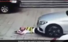 On Camera, Man Drives Car Over Security Guard To Get A Good Parking Spot