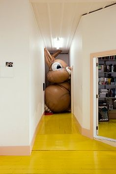 yellow painted wood floor-yes that's nice but why the big bunny-lol