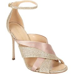 Sergio Rossi Satin and Glitter Leather Ankle-strap Sandals - Evening - Barneys.com
