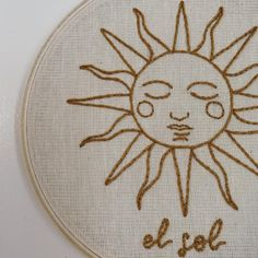 El Sol y La Luna handmade embroidered hoop/ Nursery Decor/ Simple Embroidery Designs, Hand Embroidery Stitches, Embroidery Hoop Art, Cross Stitch Embroidery, Indian Embroidery, Diy Broderie, Needlework, Creations, Nursery Decor