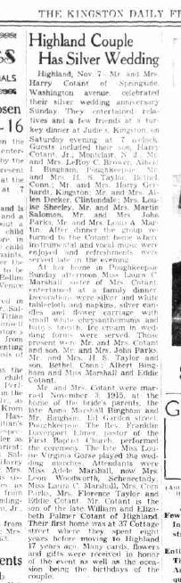 There might be a factual error here, but this article 1940 is apparently in celebration of a 25th wedding anniversary of a couple who were married at our address in 1915...  http://fultonhistory.com/newspaper%2010/Kingston%20NY%20Daily%20Freeman/Kingston%20NY%20Daily%20Freeman%201940%20Grayscale/Kingston%20NY%20Daily%20Freeman%201940%20b%20Grayscale%20-%201569.pdf