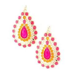 Beautiful Silver Jewelry Pink and Gold Pear Drop Designer Chandelier Earrings : Earrings