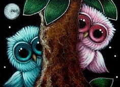 Art '2 BABY OWLS - WHERE ARE YOU?' - by Cyra R. Cancel from