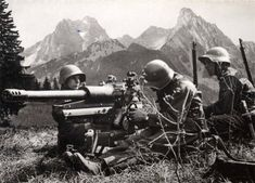 History: World War II: Above shows swiss soldiers in battle during World War II. The swiss government had allowed refugees into the country during the war and mainly stayed neutral. Ww2 Photos, Military Pictures, Modern History, Interesting History, Swiss Army, Military History, World War Ii, Switzerland, Wwii