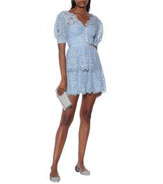 Self-Portrait - Lace minidress | Mytheresa S Signature, Short Cocktail Dress, Nice Dresses, Amazing Dresses, Portrait, Blue Shorts, Floral Lace, Dresser, Luxury Fashion