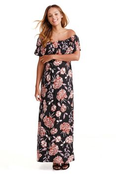 a565ef134b9 Ingrid   Isabel Off-the-Shoulder Maxi Maternity Dress (Black Cabbage Rose  Print)