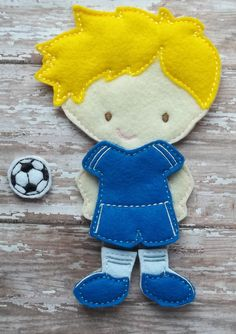"""Boy Soccer Set has uniform, shoes w socks soccer ball from my """"Unpaper Felt Dolls Share"""" collection Listing for doll clothes outfit only by cabincraftycreations on Etsy"""