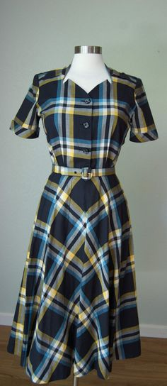 1940s Minty NWOT Cotton Day Dress in Plaid // by KittyGirlVintage