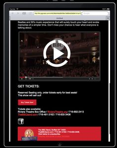 responsive email design for musicians Reserved Seating, Responsive Email, 60s Music, Email Design, Get Tickets, Touching You, The Beatles, Musicians, Templates