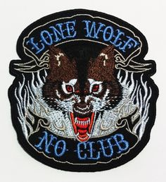 Lone Wolf No Club DIY Applique Embroidered Sew Iron on Patch p117 * Read more at the image link.