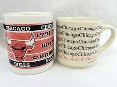 Lot of 2 Mugs Chicago Bulls 1991 World Champions NBA Vintage Basketball Rare #HunterMFG #ChicagoBulls #chicagobullsworldchampions1991