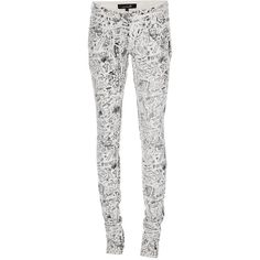 ISABEL MARANT Skinny fit jean ($266) ❤ liked on Polyvore featuring jeans, pants, bottoms, pantalones, women, white denim skinny jeans, black zipper skinny jeans, black skinny leg jeans, black denim skinny jeans and black skinny jeans