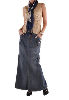 93019d82a0 Style J Charming Cargo Long Denim Skirt at Amazon Women's Clothing store: