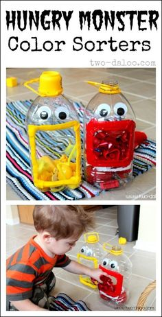 Create simple color sorting monsters made from upcyled apple juice bottles, felt, and google eyes.