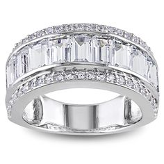 Baguette-cut white topaz and round-cut created white sapphires ringSterling silver jewelryClick here for ring sizing guide