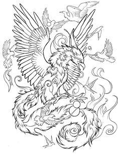 Phoenix Bird Tattoos, Phoenix Tattoo Design, Japanese Flower Tattoo, Japanese Tattoo Designs, Adult Coloring Pages, Coloring Books, Fenix Tattoo, Blackwork, Phoenix Drawing