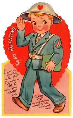 "WARTIME AIR RAID SHELTER OFFICER ""I'LL RAID YOUR HEART"" / VINTAGE VALENTINE CARD"