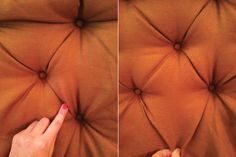DIY tufted headboard, but I imagine it would work for a footstool as well if the pegboard was mounted on a piece of MDF.