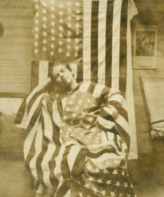 c1908 YOUNG LADY WRAPPED ENROBED in US AMERICAN FLAGS w 46 STAR FLAG BACKDROP