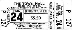 captain beefheart - live performance 240273 town hall, new york, usa - tickets